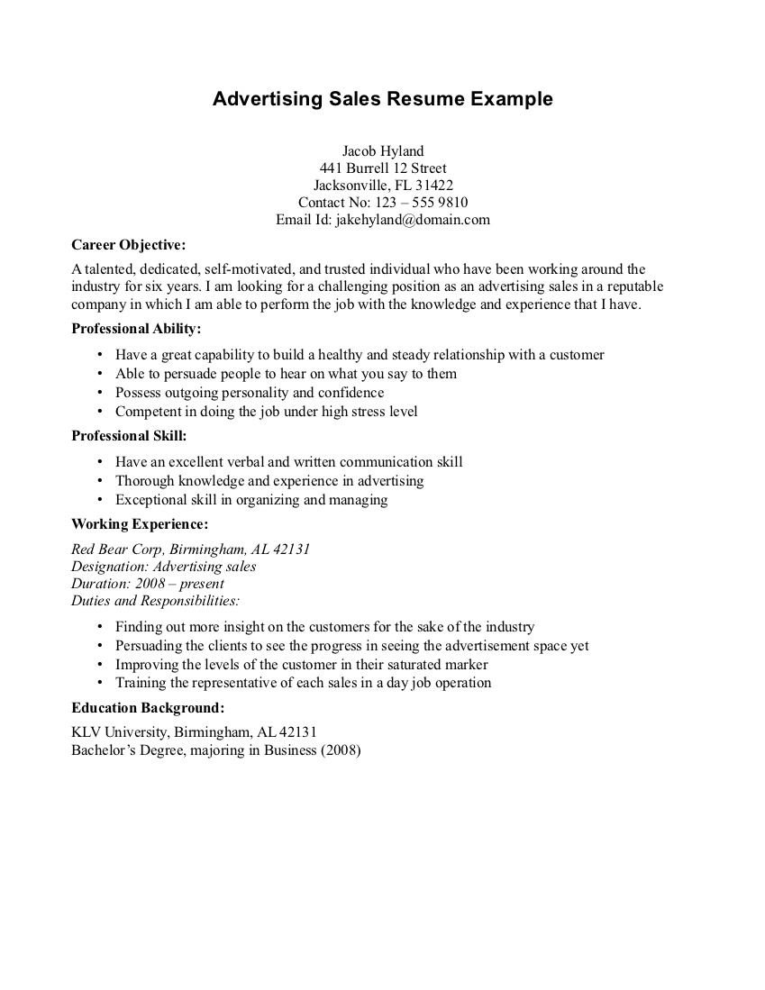 Sales Advertising Resume Objective Read More  Resume Job Objective Examples