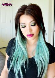 green hair pastel mint pale
