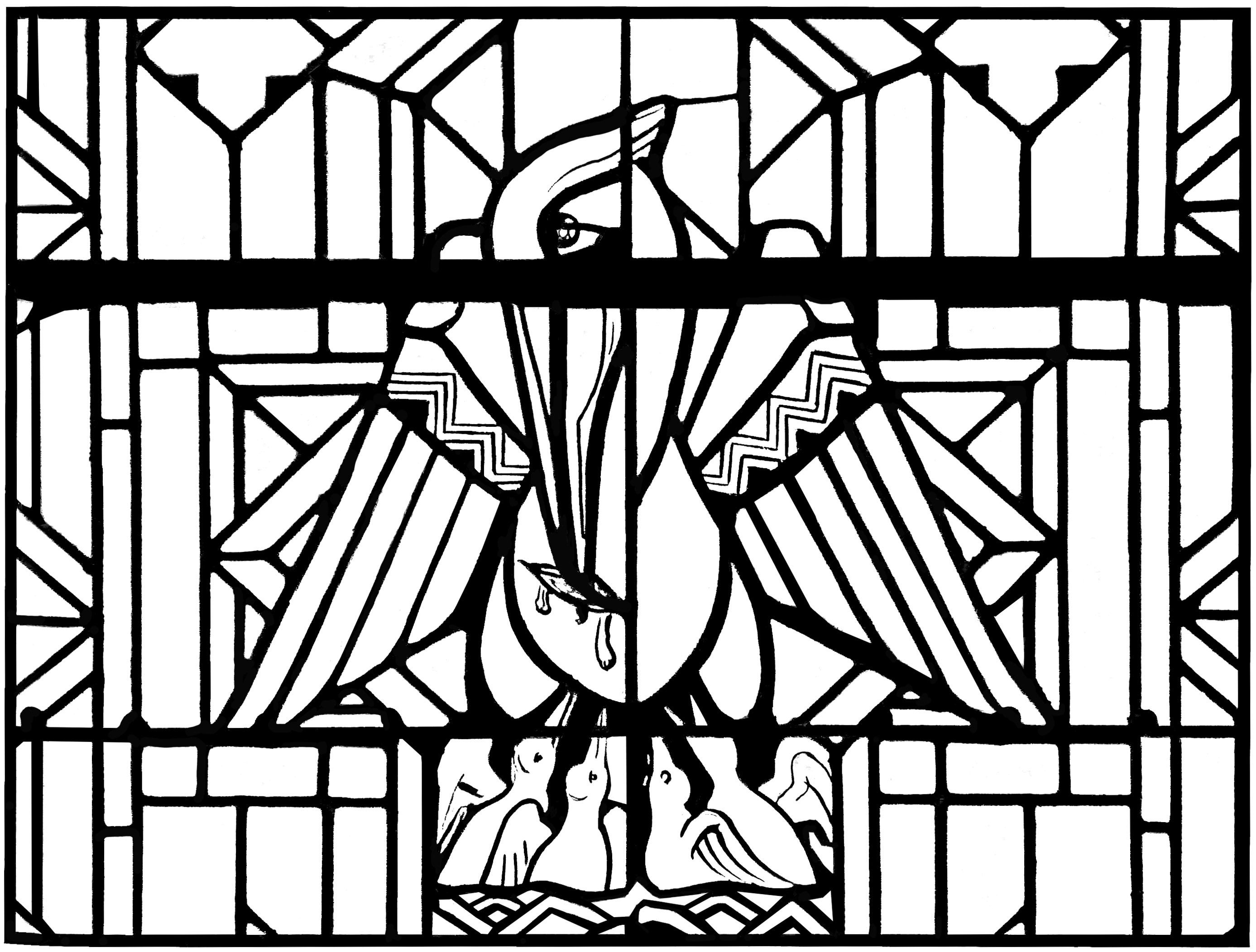 Free coloring page coloring-adult-stained-glass-pelican