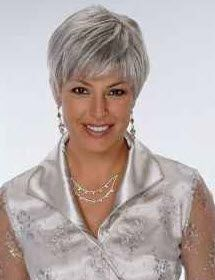 Attractive Woman With A Short Haircut And Gorgeous Gray Hair Tips