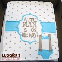 Baby shower cake for a boy with cute blue bow tie and ...