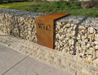gabion wall with house number signage http://www.gabion1 ...