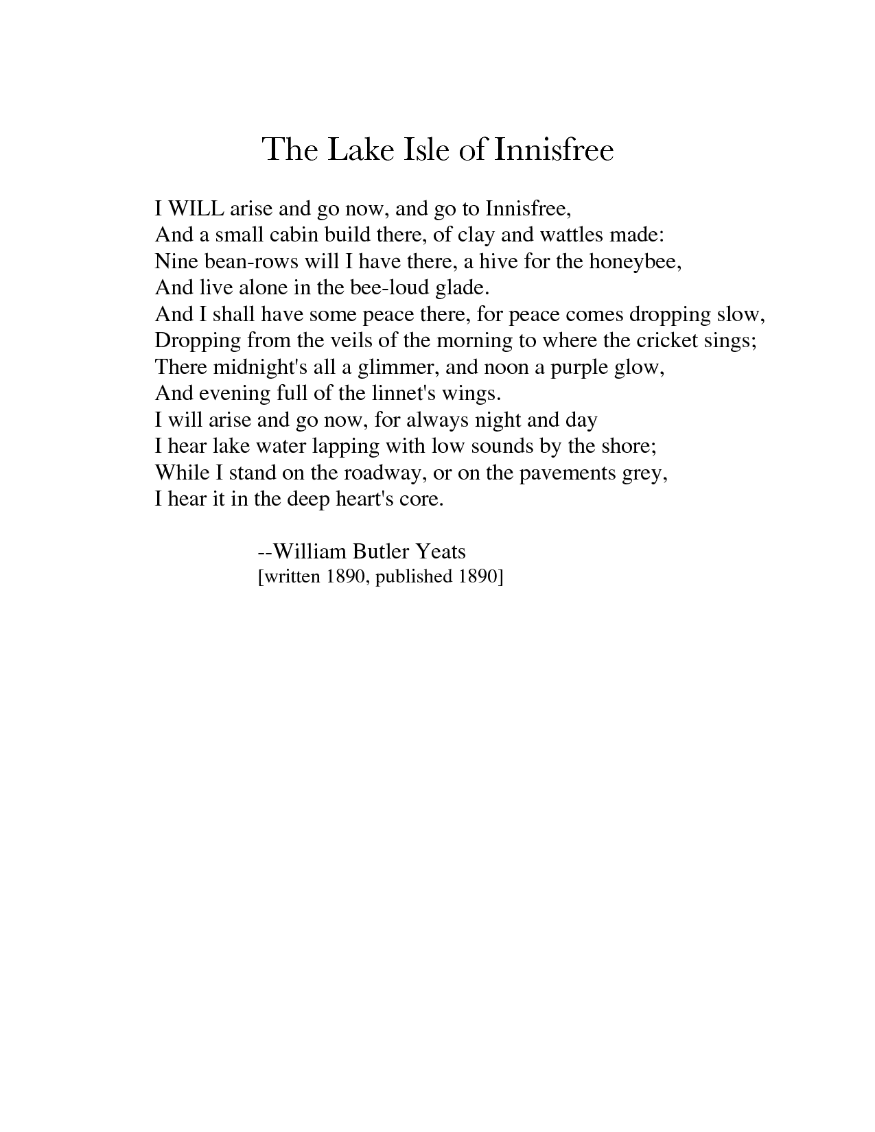 Yeats Love Poems Quotes