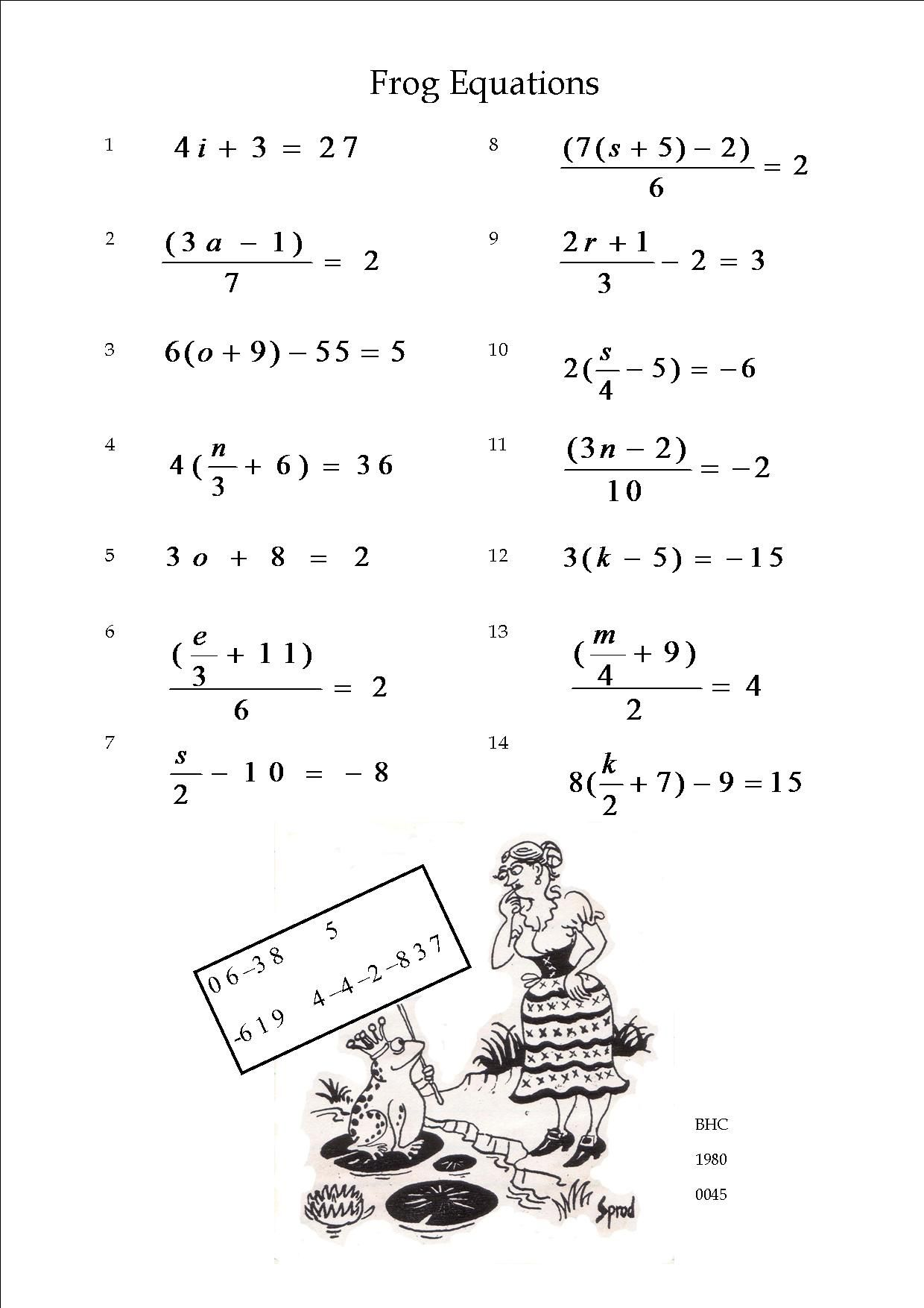 A Collection Of Equations Which May Be Solved Using Backtracking