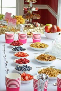 fruit, granola, and yogurt parfait bar
