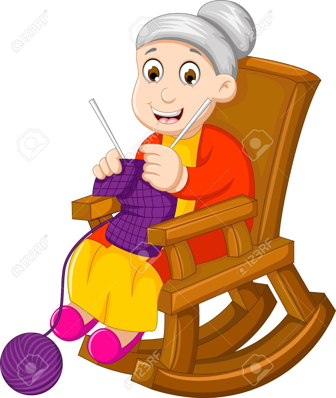 Divertida De Tejer Dibujos Animados Abuela En Una