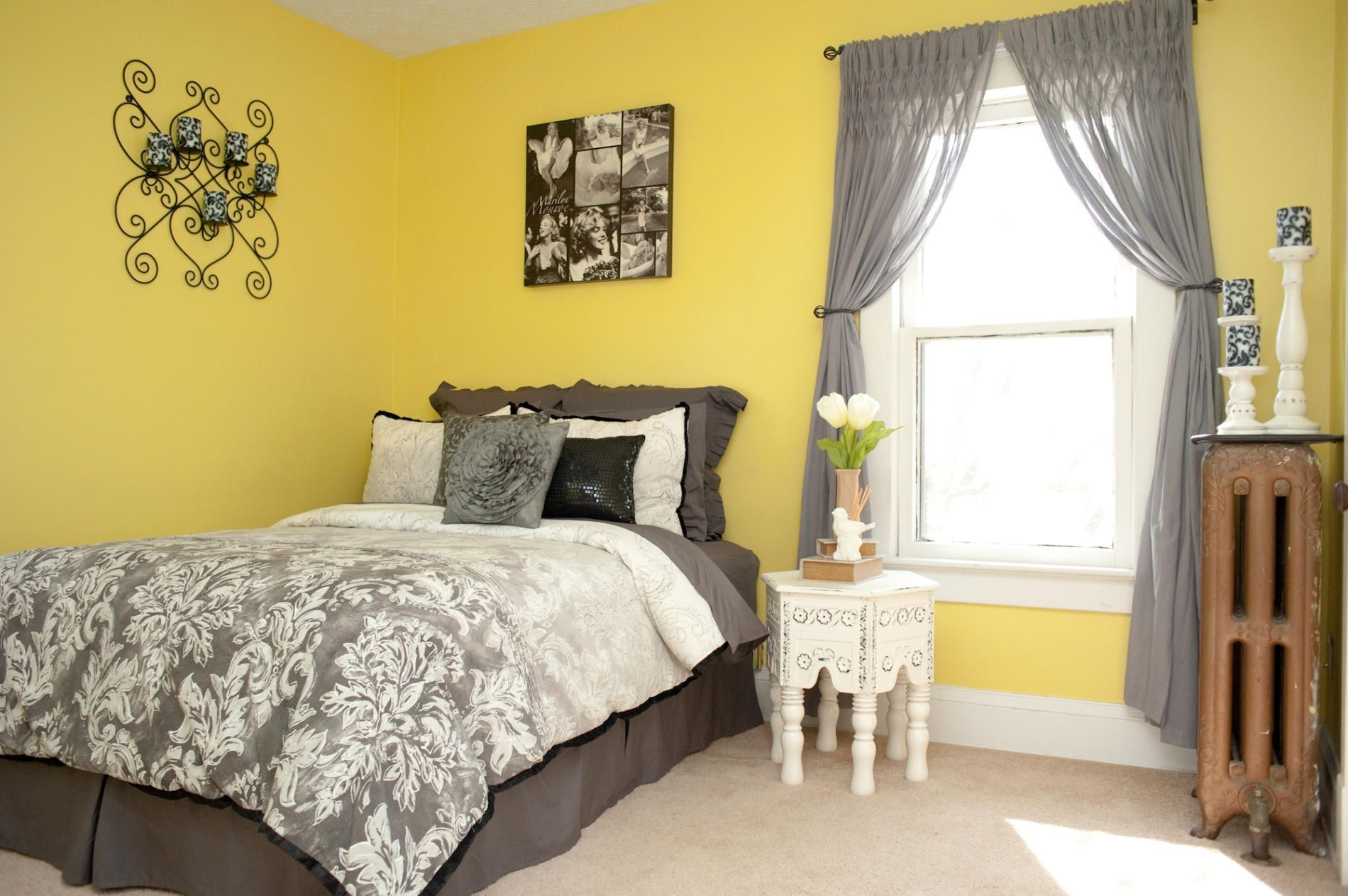Grey yellow and blue bedroom unique cheery bedrooms also bright walls design pinterest rh