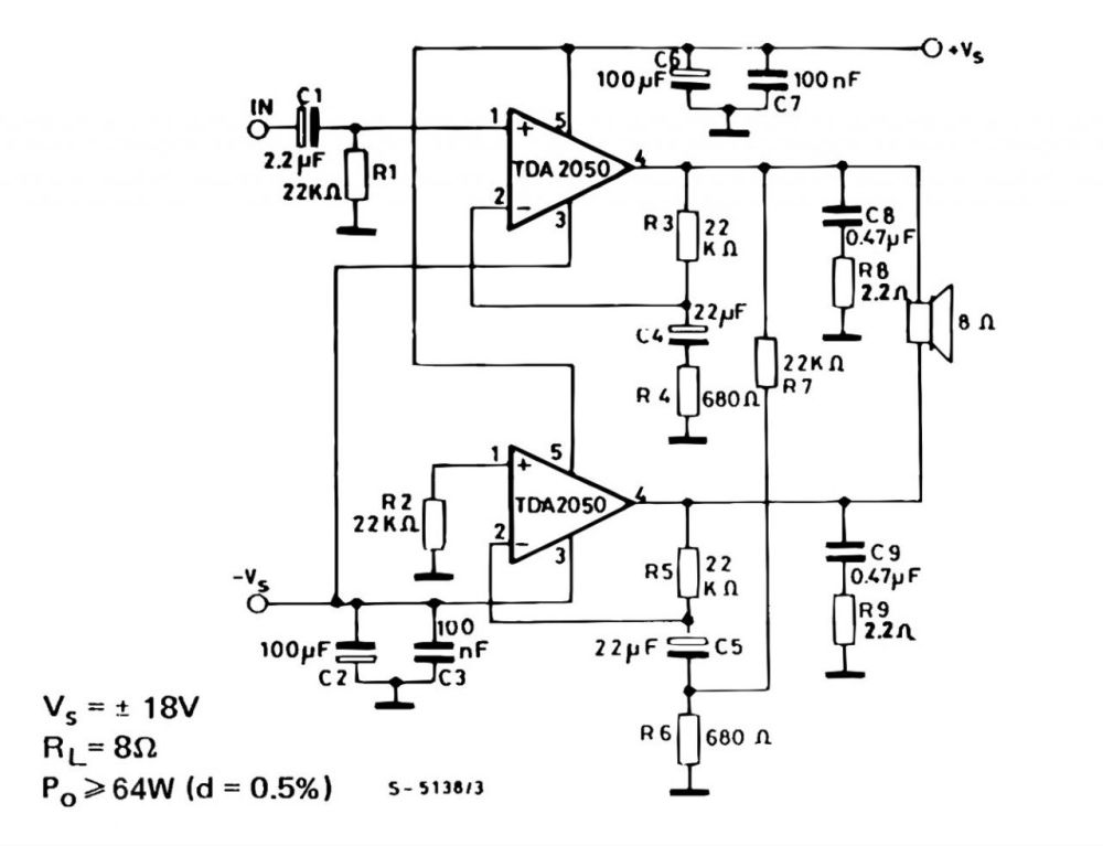 medium resolution of tda 2050 simple amp circuit bridge