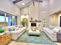 Fireplace vaulted ceiling family room contemporary with ...
