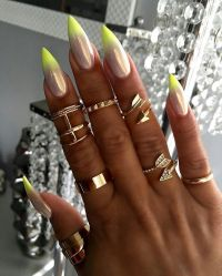 Pixie fairy dust with neon yellow ombr tips on stiletto ...