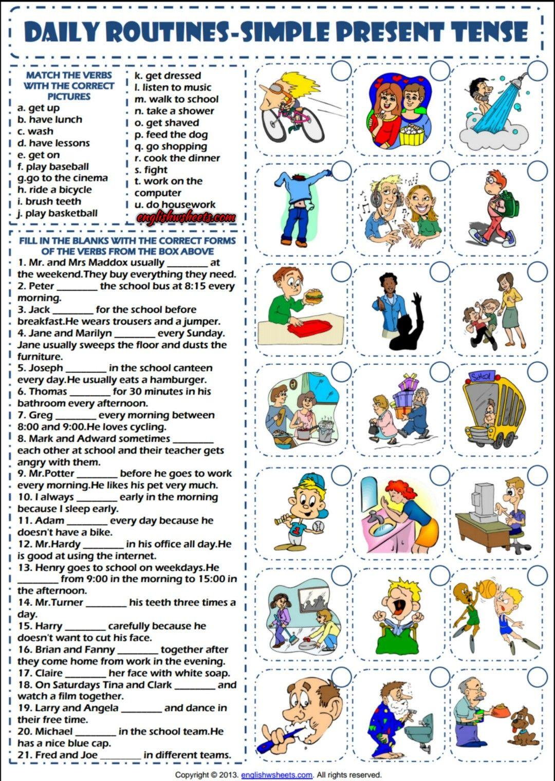 Daily Routines Simple Present Tense Esl Worksheet