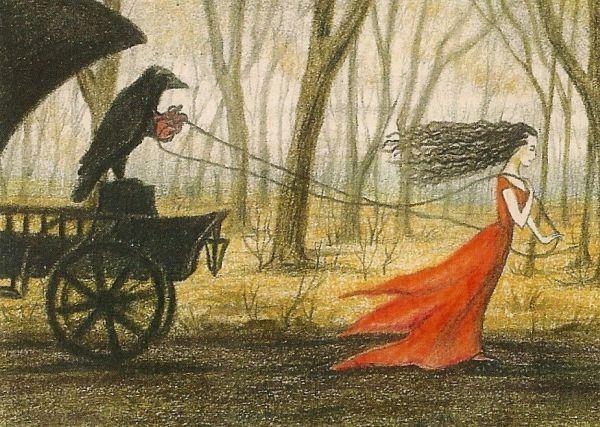 5x7 Print Of Painting Raven Crow Ryta Gothic Art Magic
