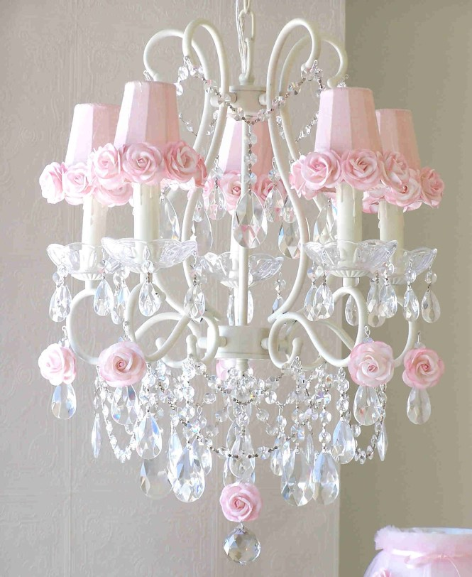 5 Light Chandelier With Pink Rose Shades By A Vintage