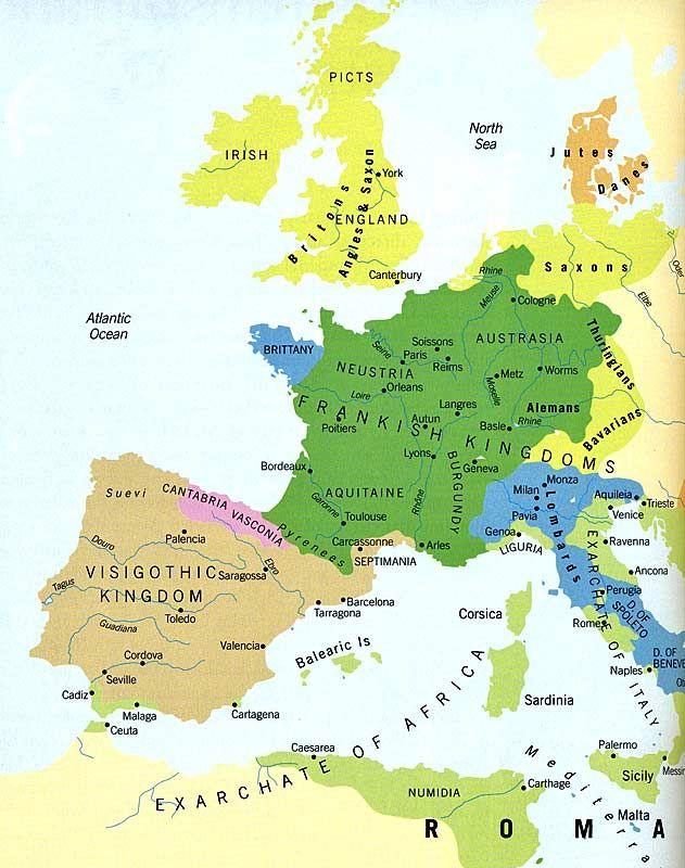 Map Kingdoms Europe 500 Ad