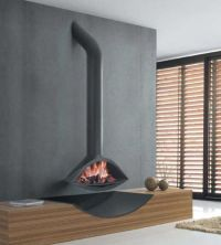 Contemporary hanging fireplace (wood-burning open hearth ...