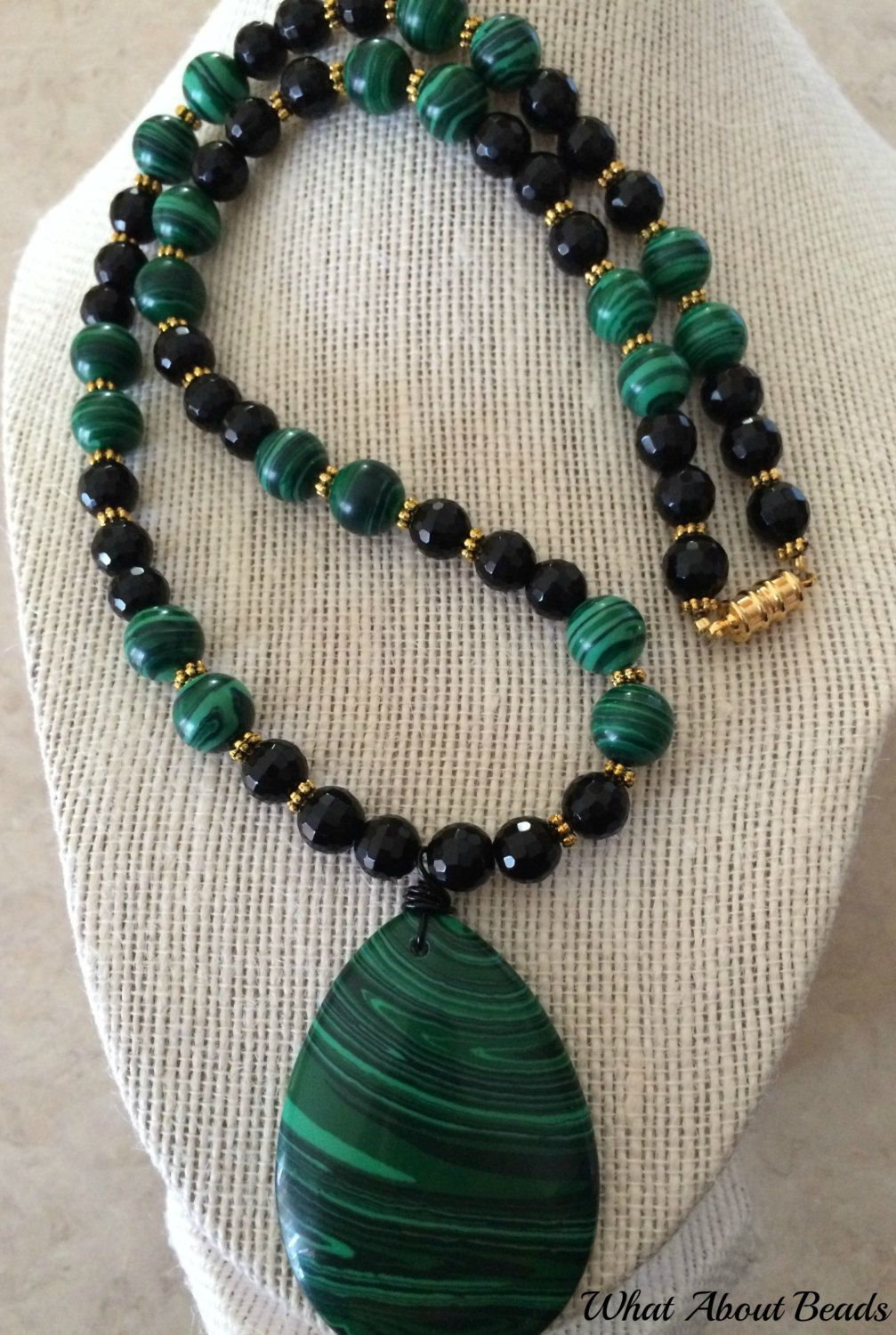 Malachite Beaded Set Necklace Bracelet And Earrings By