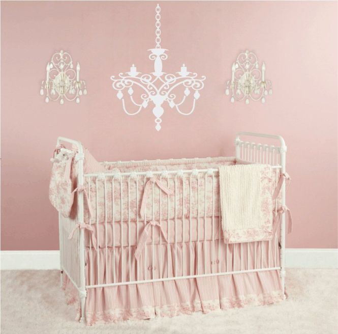 Chandelier Vinyl Wall Decal Baby Nursery For Shabby Chic Room 22hx16w Fs115