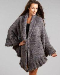 Brianna Knit Mink Ruffled Wrap in Grey | Mink, Ruffles and ...