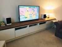 Long TV unit. Custom built IKEA Hack using Besta units on ...