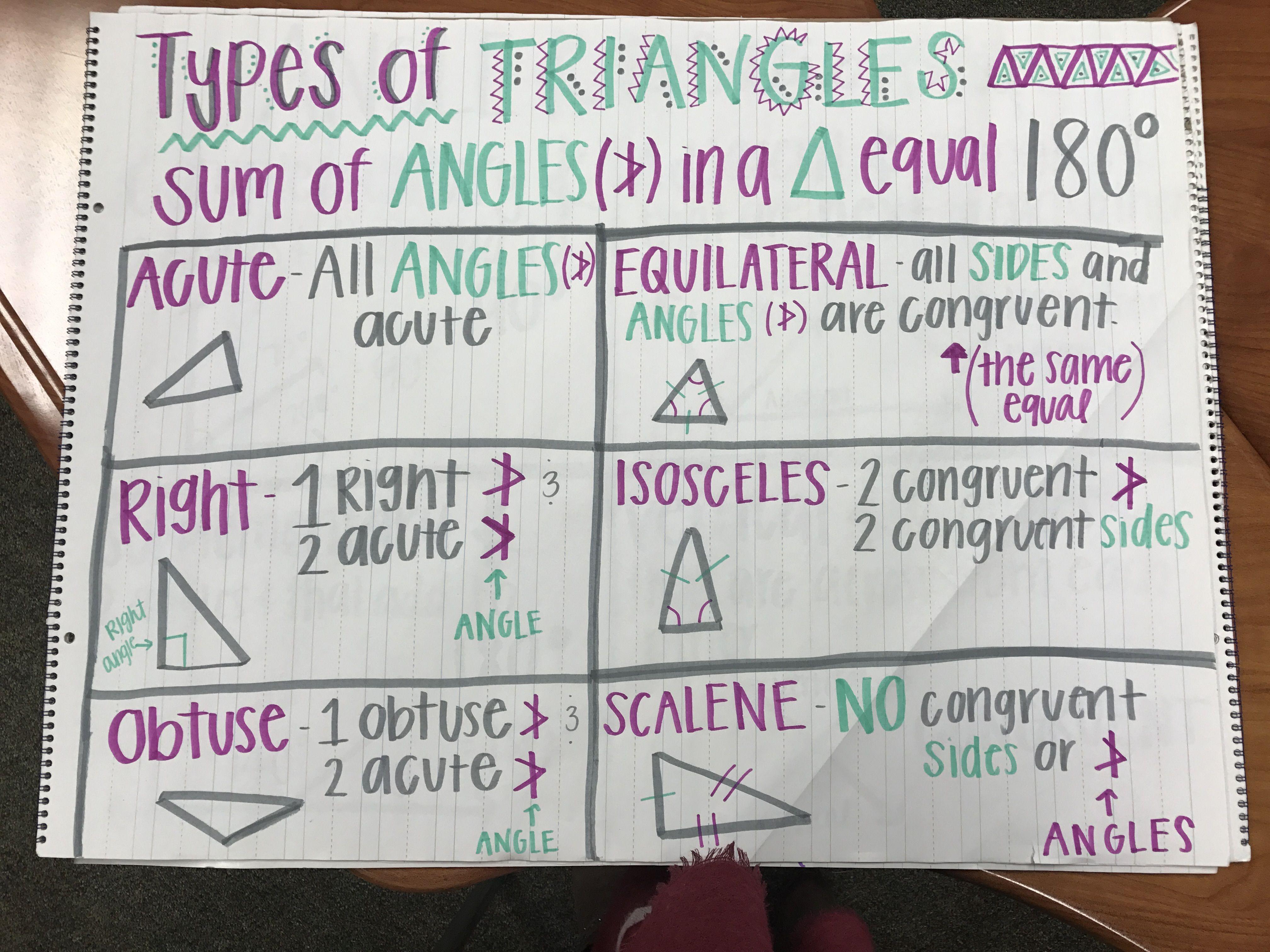 Types Of Triangles 6th Grade Math Math 6th Grade Math