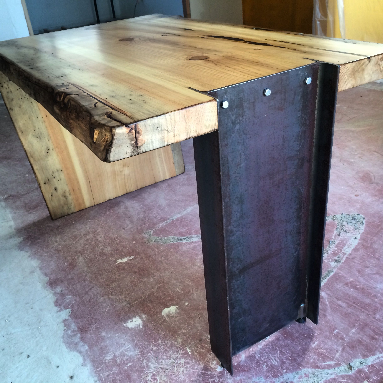 steel chair in slab wicker outdoor i beam live edge desk beams desks and woods