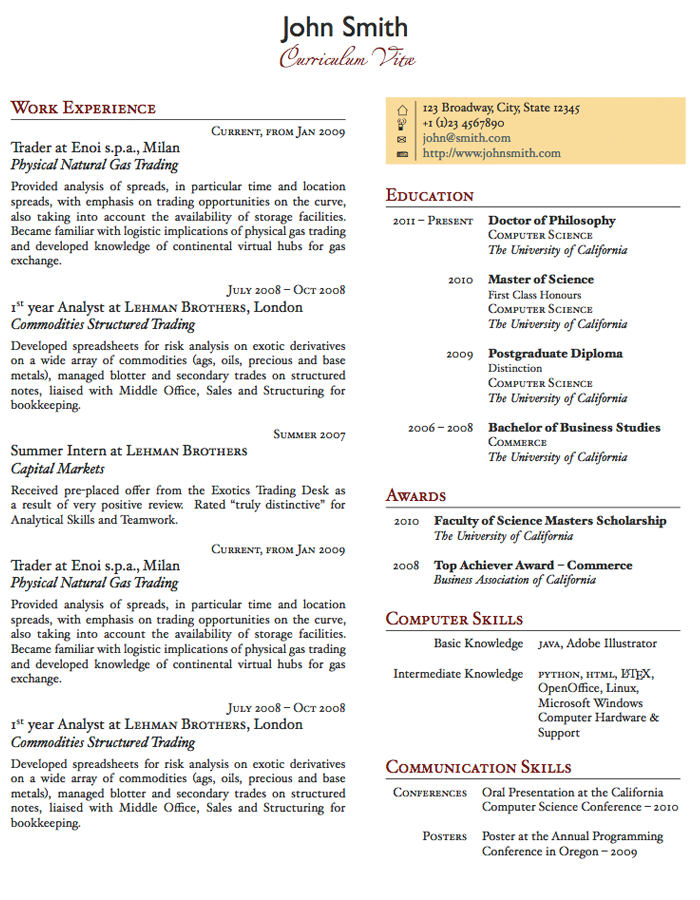 two page resume examples - Example Of A One Page Resume