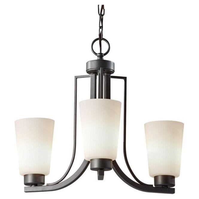 Feiss Weston Colonial Iron Three Light Fluorescent Chandelier On