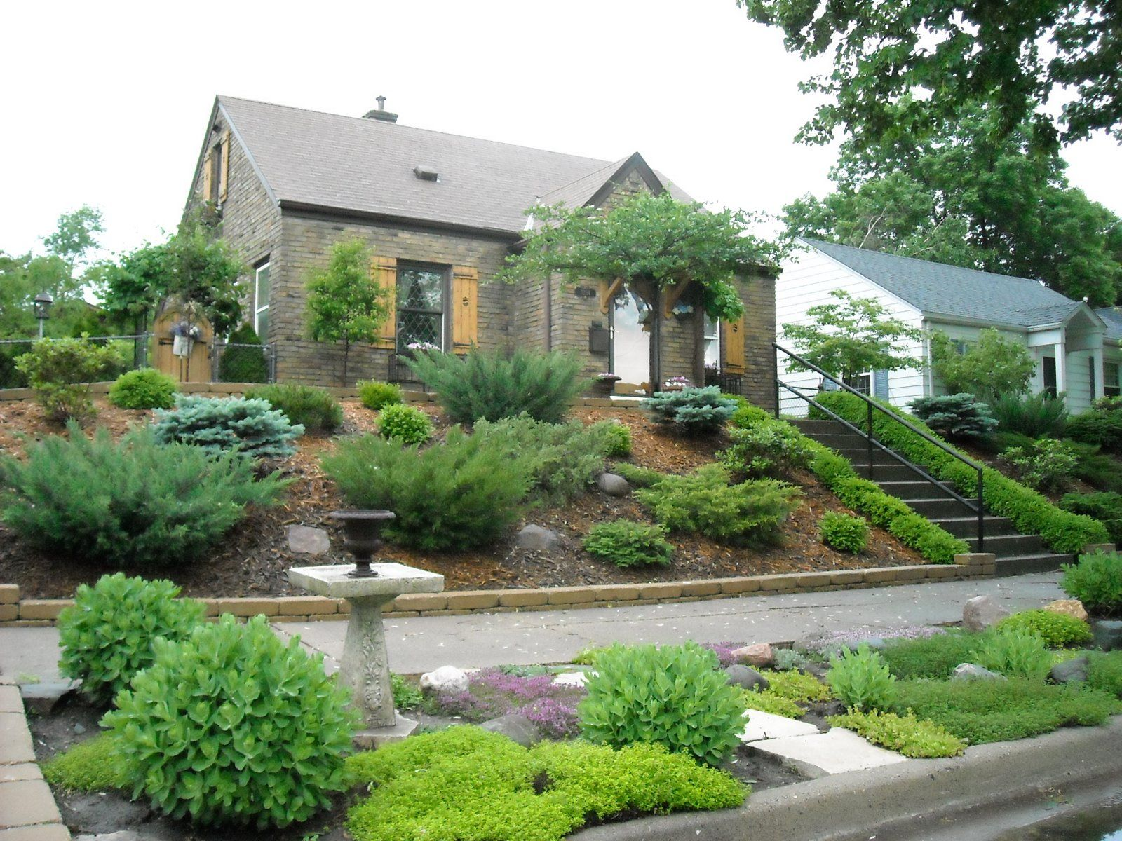 Hill Landscaping Ideas Transitional Shot Of The Front Yard