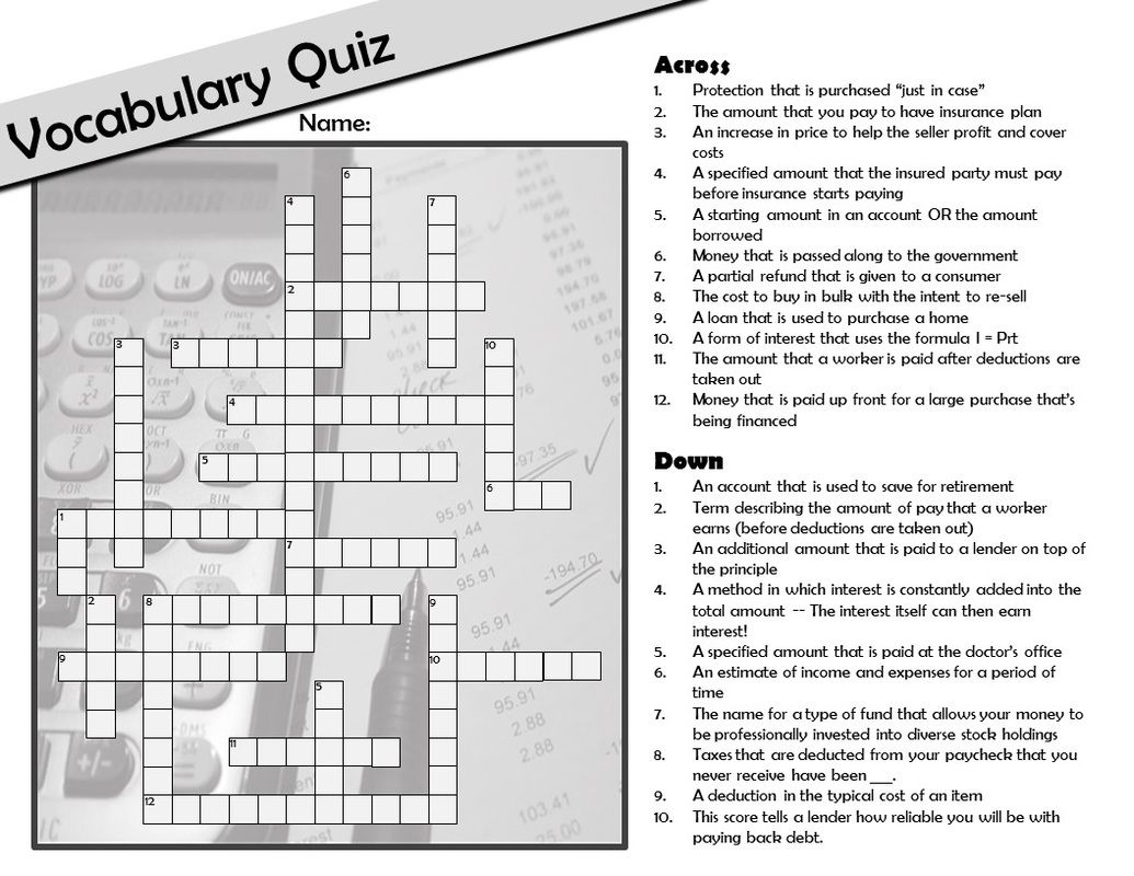 Free Personal Finance Consumer Math Vocabulary Crossword Plus A Whole Unit Study With 8