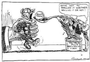 This is a political cartoon for the Treaty of Versailles