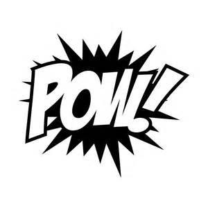 zap pow super hero words black and white clip art