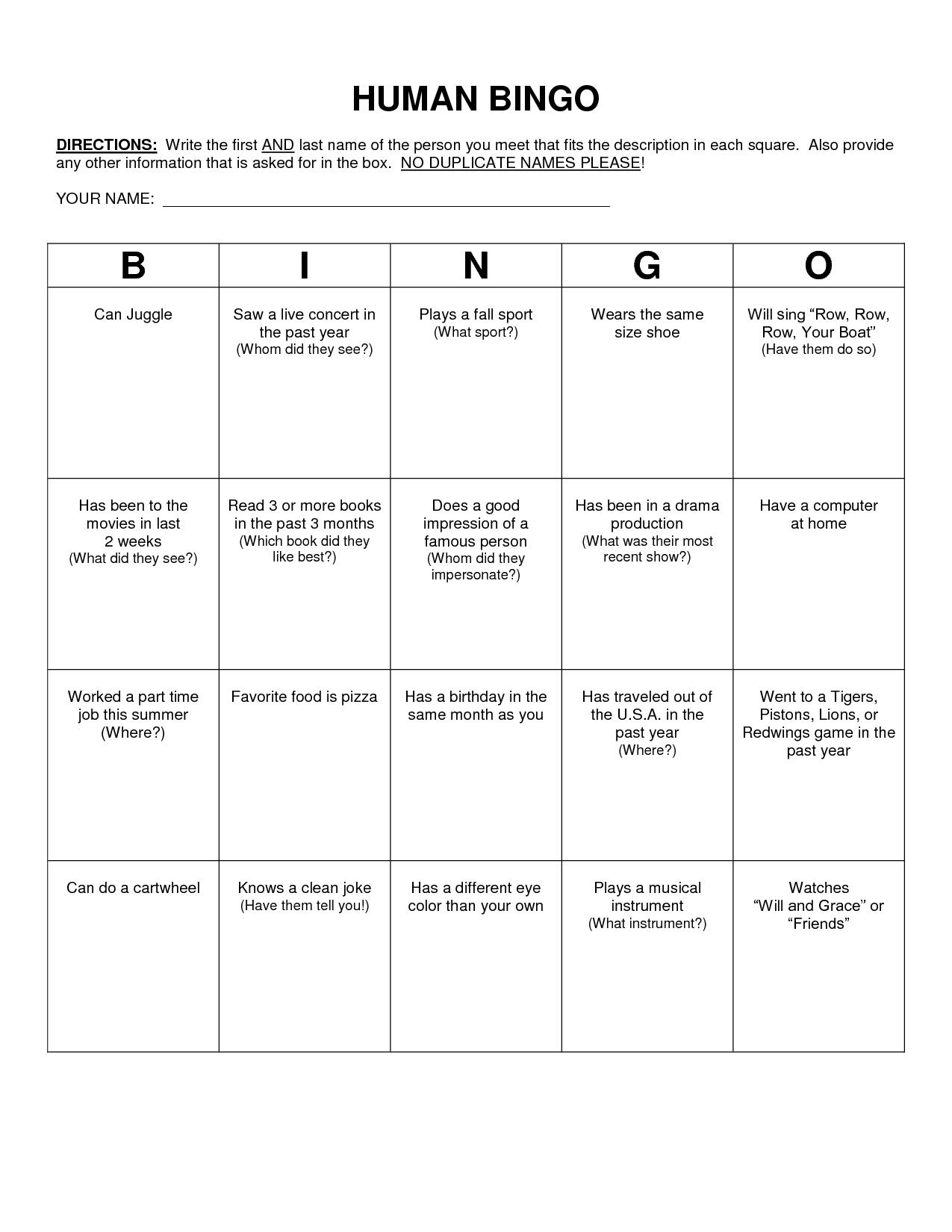 Human Bingo Scavenger Hunt Template