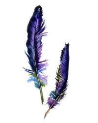 Purple Feathers, Home Decor, Wall Decor, Watercolor Print ...