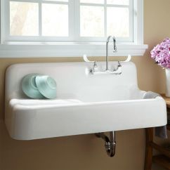 Old Kitchen Sink With Drainboard Backsplash Ideas For Small 42 Quot Cast Iron Wall Hung