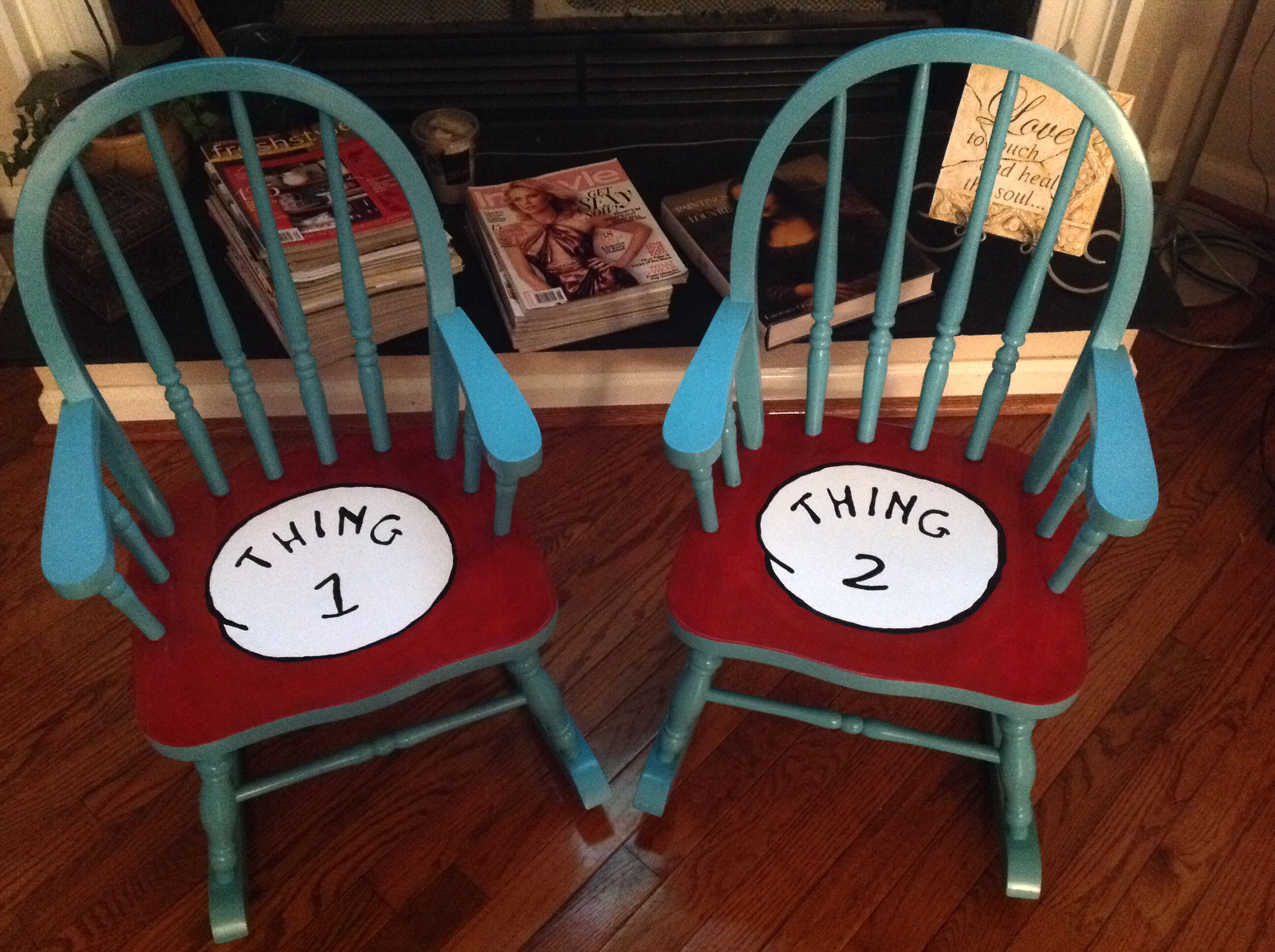 dr seuss chair everywhere coupon code thing 1 and 2 custom painted vintage kids