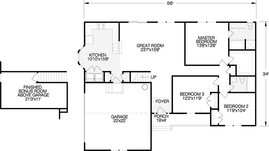 The Haley floorplan features 3 bedrooms and 2 baths in a