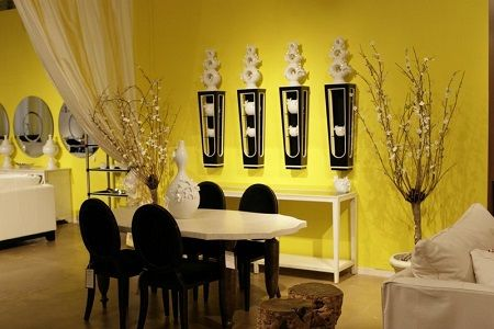Dining room modern bright interior designing ideas with stands free glossy teak set furniture beside plain yellow wall paint and also pinterest rh