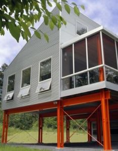Exterior corrugated metal walls plus  cool way to lift your house up for better also rh pinterest