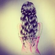 beautiful braid drawing girl