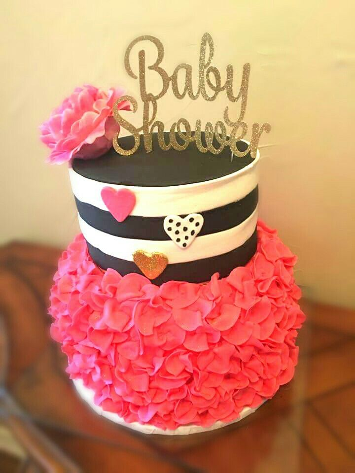Kate Spade Girl Baby Shower Cake Pink Gold Black And