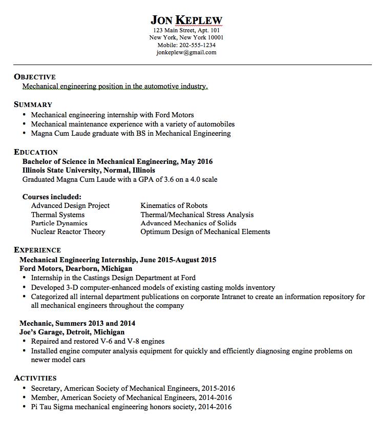 Mechanical Engineering Sample Resume Exampleresumecv Org