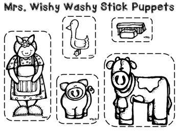 Mrs. Wishy Washy Stick Puppets and Tub: Farm Craft