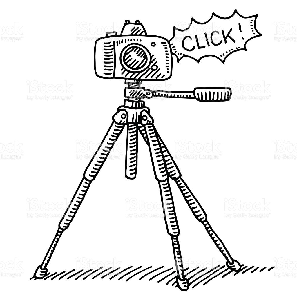 Hand-drawn vector drawing of a Photography Camera on a