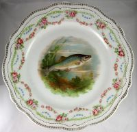 RARE Antique Set of 12 HP Fish Plates, Stunning Royal ...