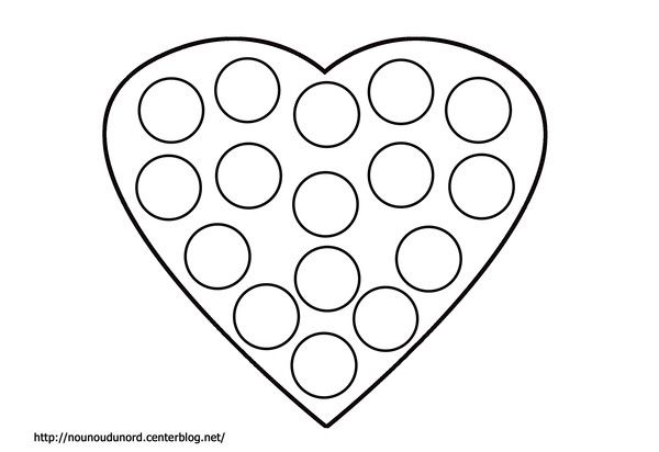 Coloriage coeur à gommettes dessiné par nounoudunord