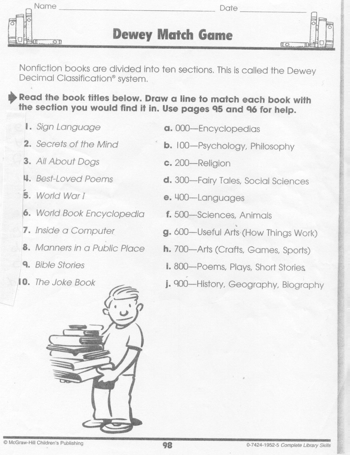 Dewey Decimal Cheat Sheet For Kids