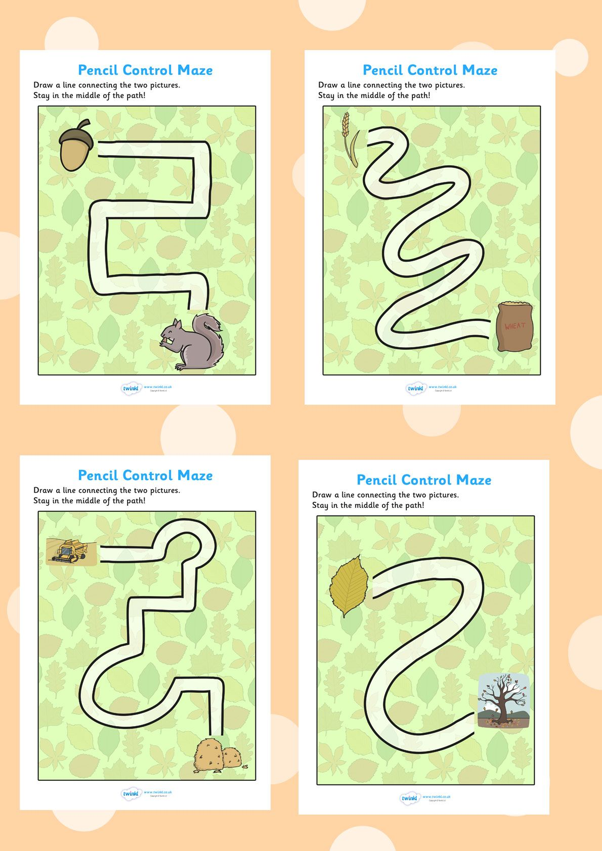 Twinkl Resources Gt Gt Autumn Themed Pencil Control Maze