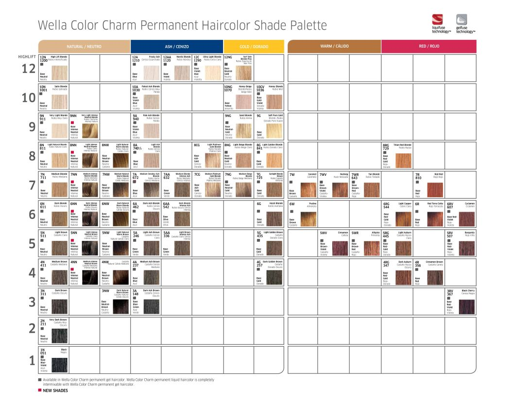 Wella Colour Charm Permanent Hair Color Chart Hairstly