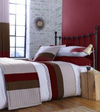 Red Beige and Cream Stripe Bedding or Curtains or ...