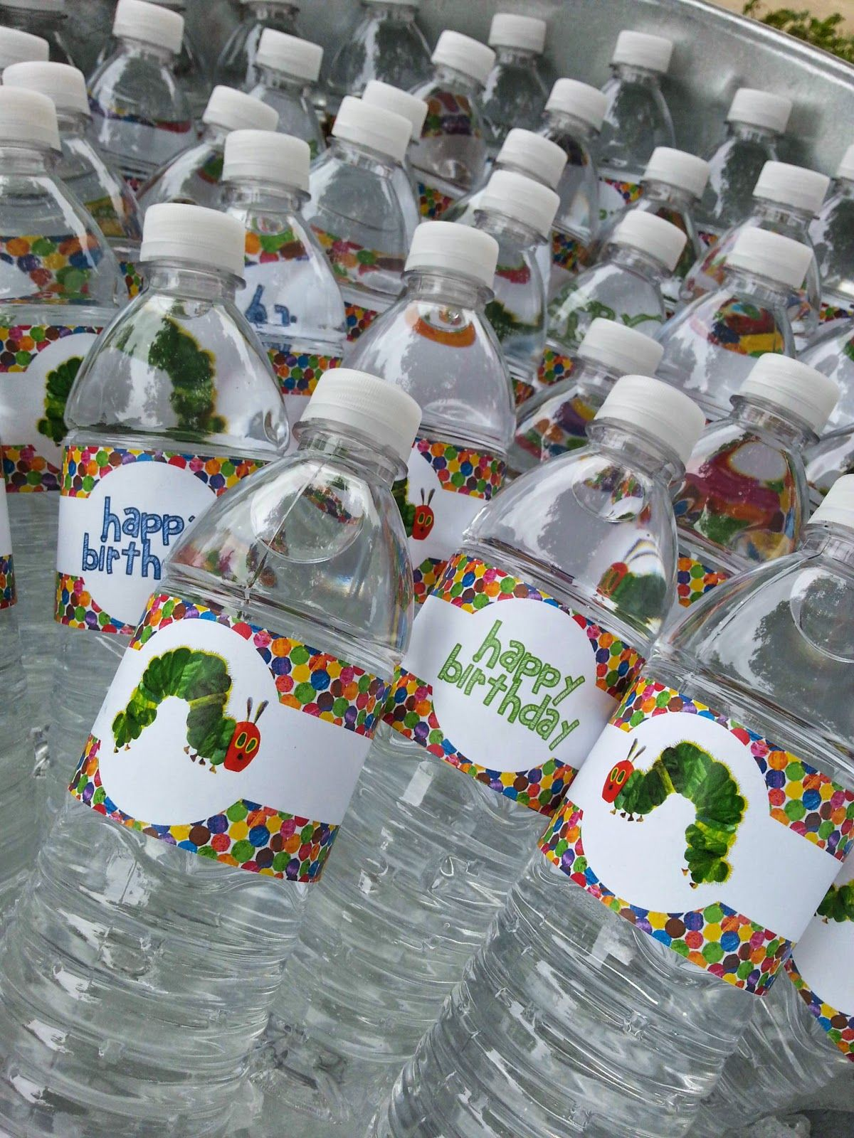 Free Party Printables Very Hungry Caterpillar Water Bottle Labels Favor Tags Invitations